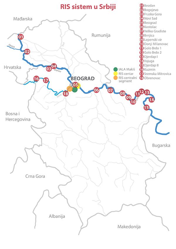 mapa recnih tokova srbije Plovput | RIS u Srbiji mapa recnih tokova srbije