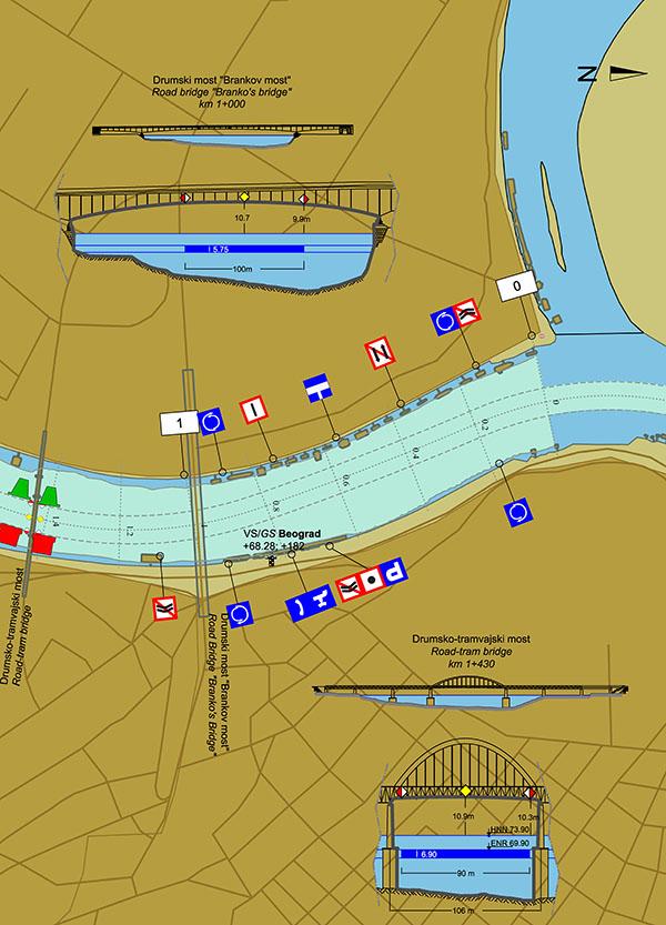 Plovput | Navigation | Navigational map of the Danube River on